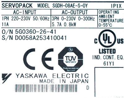 Yaskawa SGDH-08AE-S-OY label image