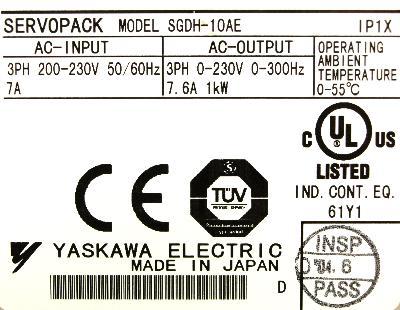 Yaskawa SGDH-10AE label image