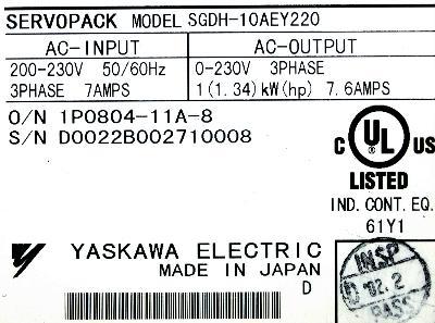 Yaskawa SGDH-10AE-Y220 label image