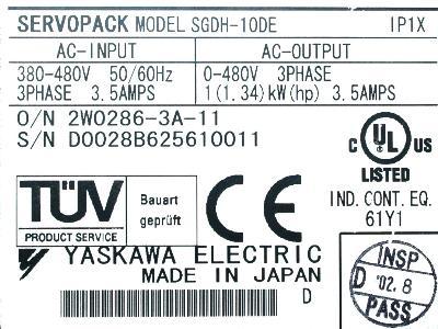 Yaskawa SGDH-10DE label image