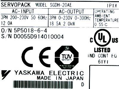 Yaskawa SGDH-20AE label image