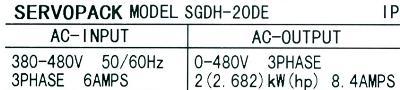 Yaskawa SGDH-20DE label image