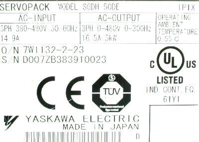 Yaskawa SGDH-50DE label image