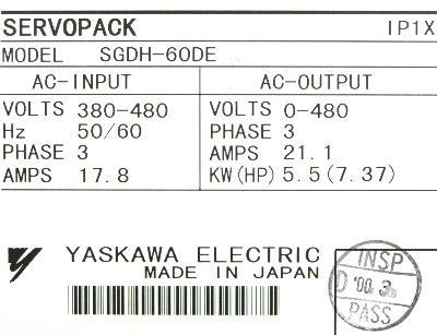 Yaskawa SGDH-60DE label image