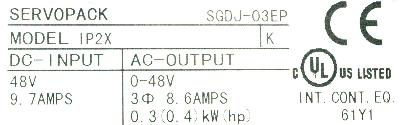 Yaskawa SGDJ-03EP label image