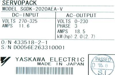 Yaskawa SGDK-2020AEA-V label image