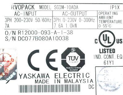 Yaskawa SGDM-10ADA label image