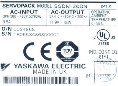 Yaskawa SGDM-30DN label image