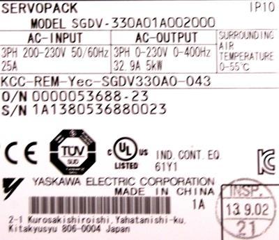 Yaskawa SGDV-330A01A002000 label image