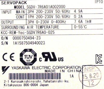 Yaskawa SGDV-7R6A01A002000 label image