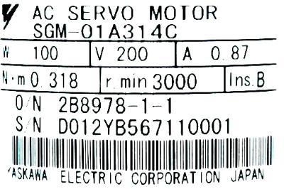 Yaskawa SGM-01A314C label image