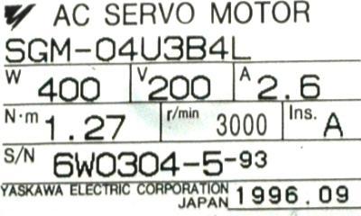 Yaskawa SGM-04U3B4L label image
