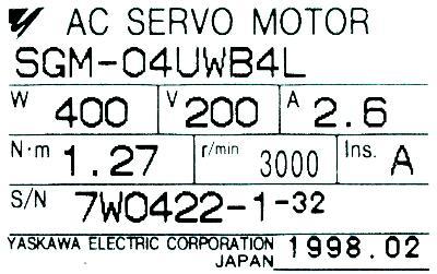 Yaskawa SGM-04UWB4L label image