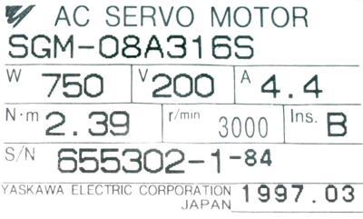 New Refurbished Exchange Repair  Yaskawa Motors-AC Servo SGM-08A316S Precision Zone