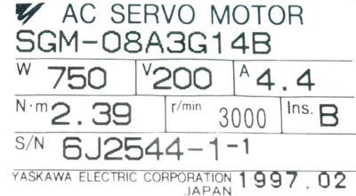 Yaskawa SGM-08A3G14B label image