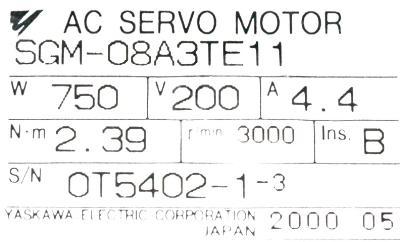 Yaskawa SGM-08A3TE11 label image