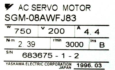 Yaskawa SGM-08AWFJ83 label image