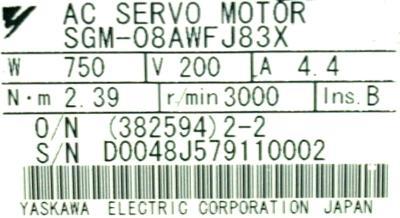 Yaskawa SGM-08AWFJ83X label image