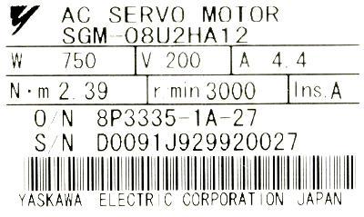 Yaskawa SGM-08U2HA12 label image