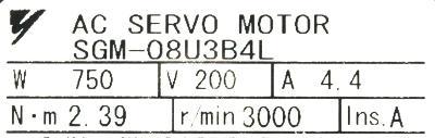 Yaskawa SGM-08U3B4L label image