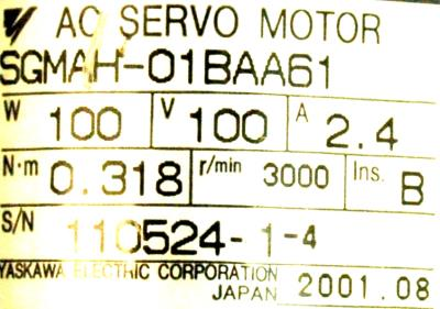 Yaskawa SGMAH-01BAA61 label image