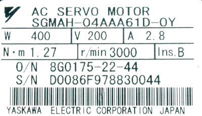 Yaskawa SGMAH-04AAA61D-OY label image