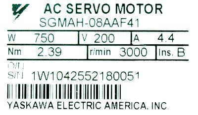 Yaskawa SGMAH-08AAF41 label image