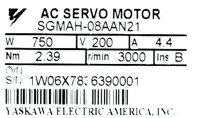 Yaskawa SGMAH-08AAN21 label image