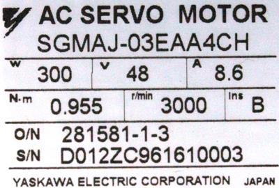 Yaskawa SGMAJ-03EAA4CH label image