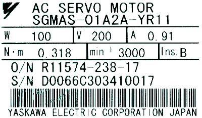 Yaskawa SGMAS-01A2A-YR11 label image