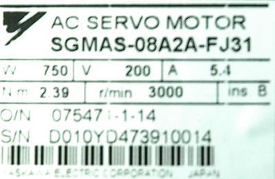 Yaskawa SGMAS-08A2A-FJ31 label image