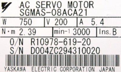 Yaskawa SGMAS-08ACA21 label image