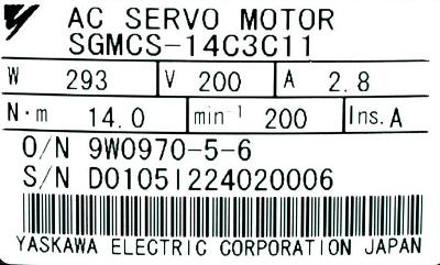 Yaskawa SGMCS-14C3C11 Motors-AC Servo
