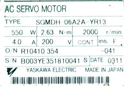 Yaskawa SGMDH-06A2A-YR13 label image