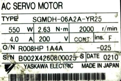 Yaskawa SGMDH-06A2A-YR25 label image