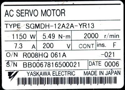 Yaskawa SGMDH-12A2A-YR13 label image
