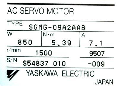 Yaskawa SGMG-09A2AAB label image