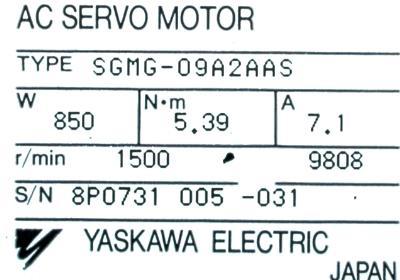 Cnc Servo Motors Yaskawa Sgmg 09a2aas Motors Ac Servo