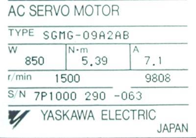 Yaskawa SGMG-09A2AB label image