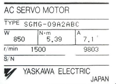 Yaskawa SGMG-09A2ABC label image
