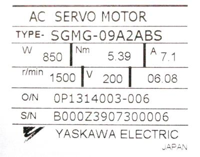 Yaskawa SGMG-09A2ABS label image