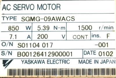 Yaskawa SGMG-09AWACS label image