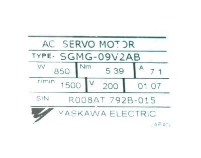 Yaskawa SGMG-09V2AB label image