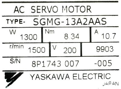 New Refurbished Exchange Repair  Yaskawa Motors-AC Servo SGMG-13A2AAS Precision Zone