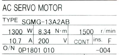 Yaskawa SGMG-13A2AB label image