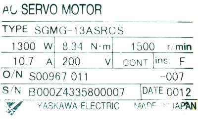 New Refurbished Exchange Repair  Yaskawa Motors-AC Servo SGMG-13ASRCS Precision Zone