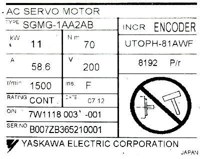 Cnc Servo Motors Yaskawa Sgmg 1aa2ab Motors Ac Servo