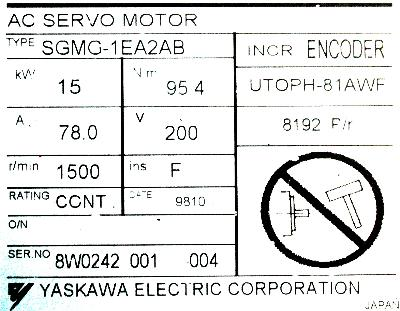 Yaskawa SGMG-1EA2AB label image