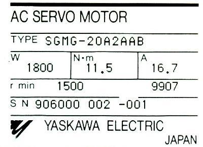 Yaskawa SGMG-20A2AAB label image
