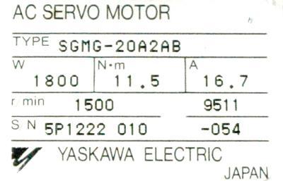 Yaskawa SGMG-20A2AB label image